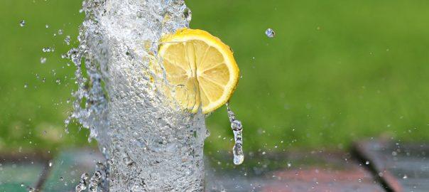 glass of melting ice with lemon slice garnish